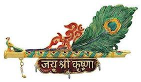 Satya Vipal Metal Peacock Krishna Key Holder Hanging for Home Decor