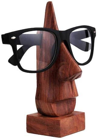 Satya Vipal Hand Crafted Wooden Face Shaped Spectacle Specs, Eyeglass Holder, Home Decor, Showpiece Table Decor (6 inch, Brown)