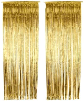 Satya Vipal Set of 2 Metallic Golden Foil Curtain Fringe for Party Decoration Door Curtains- 3 x 6 ft