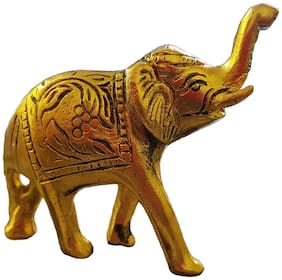 Satya Vipal Golden Metal Elephant for Home Decor, Show Piece, Lucky Figure, Eye catching Statue (Small)