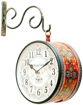 Satya Vipal Metal & Glass Analog Wall clock ( Set of 1 )
