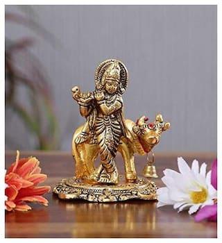 Satya Vipal Oxodised Gold Plated Krishna Ji with Kamdhenu Cow Idol