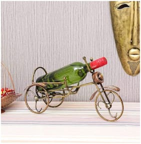Satya Vipal Iron Multi Painted Rickshaw Design Antique Wine Bottle Holder