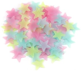 Satya Vipal Multi Color Fluorescent Glow in The Dark Star Wall Sticker (100 3x3 Cm)