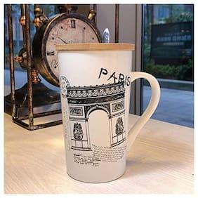 Satyam Kraft Paris Gate Printed Ceramic Coffee Mug with Wooden Lid and Spoon