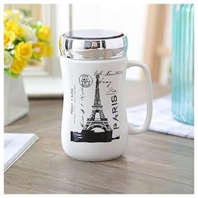 Satyam Kraft Eiffel Tower Printed Ceramic Coffee Mug with Wooden Lid and Spoon