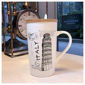 Satyam Kraft (Pack of 1) Italy Printed Ceramic Coffee Mug with Wooden Lid and Spoon for Diwali Gift,Christmas Gift, Coffee Mug Ceramic Mug Valentine Gift Mug (Italy)