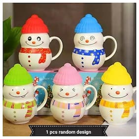 Satyam Kraft Ceramic Snow Man Mug With Silicon Lid Cover(1 Piece) For Kids Mug 300 ml