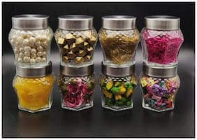Satyam Kraft (Pack of 8) Crown Glass Jar and Container(250 ml) with Rust Proof Air Tight Lid/Diwali Gift/Diwali Gifts for Family and Friends/Diwali Gift Items (Crown jar, 8)