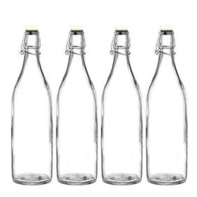 SATYAM KRAFT Glass Transparent Water Bottle ( 1000 ml , Set of 4 )