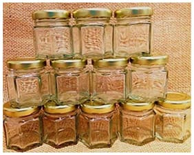 Satyam Kraft Mini Hexagon Glass Jar And Container(45 ml) With Rust Proof Air Tight Lid /Mason Jars Without Handle (12)