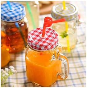 Satyam Kraft Diwali Collection 430 ML MASON GLASS JAR MUG WITH STRAW (6 Pcs)