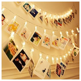 Satyam Kraft Battery Powered 10 Clip lights Indoor Outdoor Decoration Christmas light rope for Party / birthday / Diwali / Christmas / navratri (1 Pcs Clip Light)
