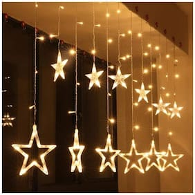 Satyam Kraft 138 LEDs Star Curtain string Light with 6 Big star and 6 small star with 2 flashing modes (on and blink) for Festival Decoration Christmas decoration valentine decoration