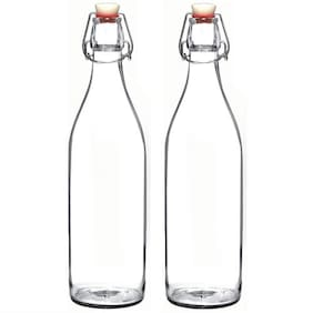 SATYAM KRAFT Glass Transparent Water Bottle ( 1000 ml , Set of 2 )