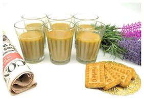 Satyam Kraft 6 Pcs Chai Glass Traditional Cutting chai Glass -Small - (100 ML) (Pack of 6) / Tea Cup/Tea Cups Set of 6