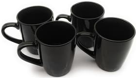 Satyam Kraft Pack of 4 Ceramic Tea Cups/Coffee Mugs for Home (Plain Black)mug