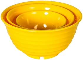 SAURA Polypropylene Serving & Storage Bowl 500/1000/1800ml (Set-3-Gourmet-Yellow)