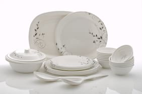 SAVORIER Melamine Dinner Sets - Set of 32 , White