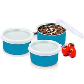Sayee Micro Safe Plastic Coated Bowl Stainless Steel Bowl Set  (Blue, Pack of 3) 350 ml