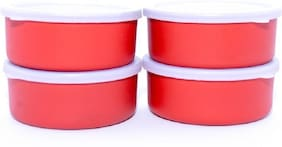 Sayee Microwave Safe Stainless Steel Small Containers Bowl for Office / Home - Set of 4 (Orange, 300ml Approx.)