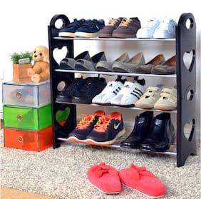 sayee Carbon Steel Shoe Rack ( Black )