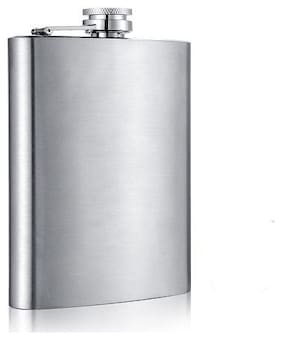 Sayee Stainless Steel Sliver Hip Flask (Sliver, Pack of 1)
