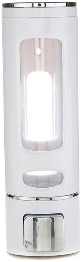 SBL Chrome Plated ABS Plastic Wall Mountable 400 ml Soap Dispenser  (White)
