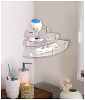 SBL -Transparent Unbreakable Wall-mounted Acrylic Corner Shelves - Set of 3 pcs (9, 6, 4 inches)