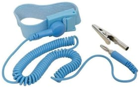 SCHOFIC [PACK OF 10 pc] Anti-Static [ESD] Safe Discharge Wristband Wrist Strap band Grounding Cord Tool- Blue