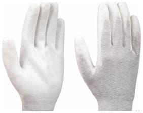 Schofic Polyester Gloves White ( Pack of 5 )