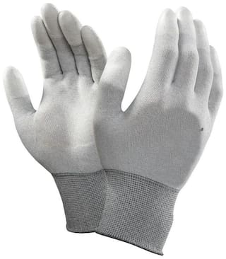 Schofic Polyester Gloves White ( Pack of 1 )