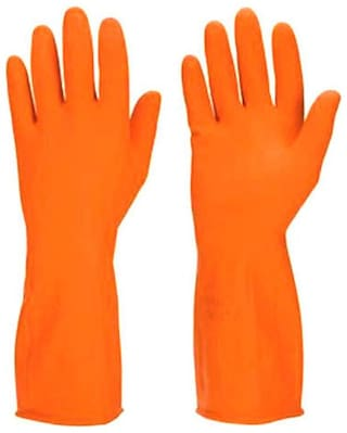 SCHOFIC [PACK OF 2 PAIR] Reusable Latex Rubber Safety Kitchen Gloves For Dishwashing , Cleaning, Lab Work, Electricity Work Free