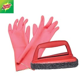 Scotch-Brite Kitchen Gloves Large 1 pc & Jet Scrubber Brush Tough