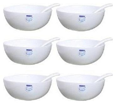 SEAHAWKS Loona Soup 12 CM Porcelain Bowl Set   White, Pack of 6