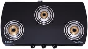Seavy SEAVY 3 Burners MS Powder Coated With Glass Top Gas Stove - Black , Auto Ignition