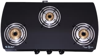 Seavy Seavy 3 Burner Automatic Regular Black Gas Stove ,