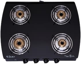 Seavy Seavy 4 Burner Automatic Regular Black Gas Stove ,