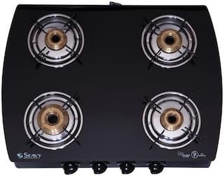 Seavy Seavy 4 Burner Regular Black Gas Stove ,