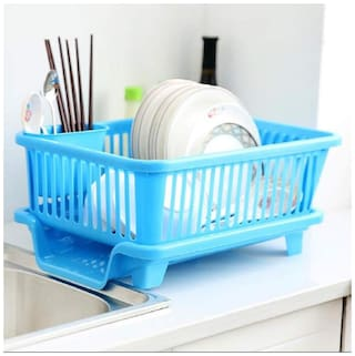 Sedulous 3 In 1 Kitchen Sink Dish Drainer Drying Rack Washing Holder Basket Organizer With Drain Tray And Cutlery Holder- Blue