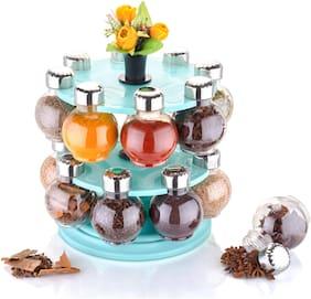 Sedulous 360° Rotating Spice Rack Masala Rack Spice Box Masala Box Spice Set (1 Stand+16 Plastic Bottles With Steel Cap+ Artificial Flower Set Of 3) 1 Piece Spice Set  (Plastic)