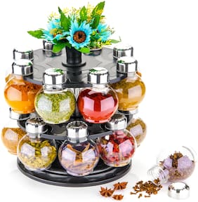 Sedulous 360° Rotating Spice Rack Spice Box Masala Box Spice Container Masala Rack Set Of 1 (1 Stand+16 Plastic Bottles With Steel Cap+ Artificial Flower Set Of 3)