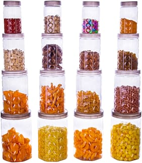 Sedulous Air Tight Pet Canister Set Of 16 pcs - 1200 ml Plastic Grocery Container (Pack of 16)