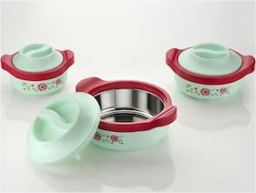 SEDULOUS Plastic & Stainless steel Casseroles - Green , Set of 3