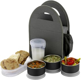 SEDULOUS 3 Containers Stainless steel & Plastic Lunch Box - Grey