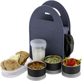 SEDULOUS 5 Containers Plastic & Stainless steel Lunch Box - Blue