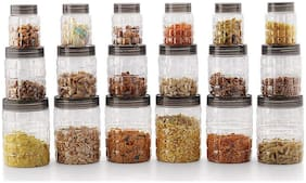 Sedulous PET Container Set Container Box Kitchen Container Combo Set Of 18 - 300 ml, 650 ml, 1200 ml Plastic Grocery Container, Fridge Container, Spice Container  (Pack of 18, Grey)
