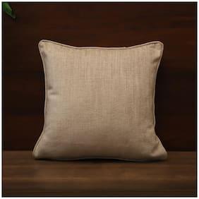 SEEVO Plain Cotton Square Shape Beige Cushion Cover ( Regular , Pack of 1 )