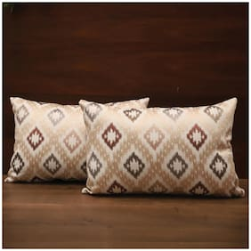 Seevo 12 X 18Inch Embroidered Cream Rectangle Polyester Cushion Cover (Pack Of 2)