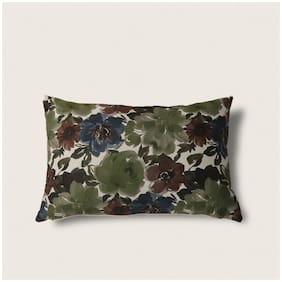 Seevo 12 X 24Inch Floral Green Rectangle Polyester Cushion Cover (Pack Of 1)
